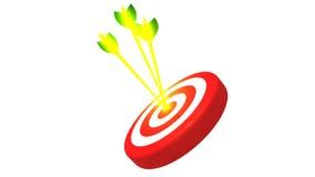 瞄准和在白色背景, 3D的三个发光的金黄箭头例证 免版税库存照片