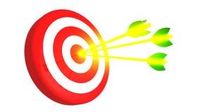 瞄准和在白色背景, 3D的三个发光的金黄箭头例证 库存照片