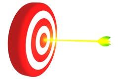 瞄准和在白色背景, 3D的发光的金黄箭头例证 免版税库存图片