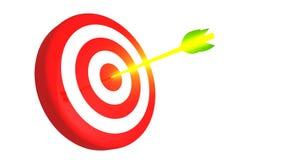 瞄准和在白色背景, 3D的发光的金黄箭头例证 免版税图库摄影