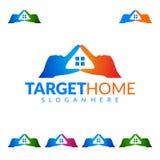 瞄准在家,房地产传染媒介商标设计 免版税库存照片