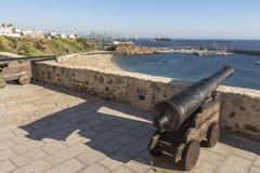 瞄准正弦的大炮海,葡萄牙 库存照片