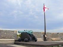 瞄准海的老大炮 免版税图库摄影