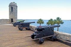 瞄准海的老大炮 免版税库存照片