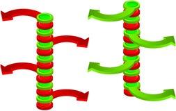 矛盾的绿色和红色空间垂直的箭头 库存照片