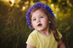 矢车菊花圈的小女孩  库存照片