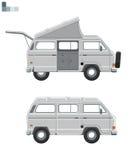 矢量模型小型巴士 公共汽车野营 库存例证