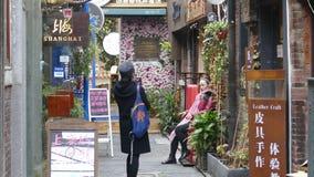 知名的旅游目的地,天狮訾犬齿街道,上海 免版税库存照片