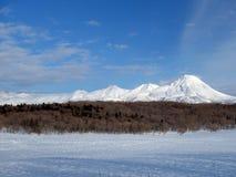 知床国立公园在冬天 免版税库存图片