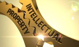 知识产权概念 金黄钝齿轮 3d 库存图片