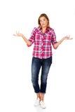 知道做符号不是妇女年轻人 免版税库存照片