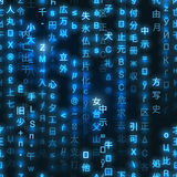 矩阵二进制编码的蓝色标志在黑暗的背景,无缝的样式的 库存图片