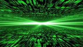 矩阵3d -飞行通过被加强的网际空间,在的光ho 免版税库存照片