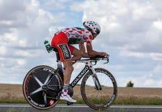 短上衣小点泽西骑自行车者托马斯Voeckler 免版税库存图片