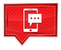 短信有薄雾电话的象淡粉红色横幅按钮 皇族释放例证