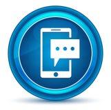 短信电话象眼珠蓝色圆的按钮 皇族释放例证