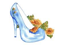 短剑高跟鞋蓝色与雏菊水彩 免版税库存照片