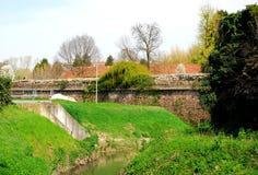 短文古老墙壁第十六在帕多瓦在威尼托(意大利) 免版税图库摄影