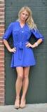 短的蓝色礼服的-时尚性感的年轻白肤金发的妇女 免版税库存图片