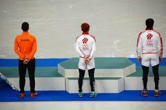 短艰苦跋涉速滑在XXII冬季奥运会的花仪式 免版税库存图片