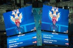 短艰苦跋涉速滑的XXII冬奥会观众 免版税库存图片
