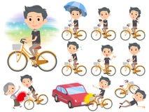 黑短袖衬衣短小胡子man_city自行车 免版税库存照片