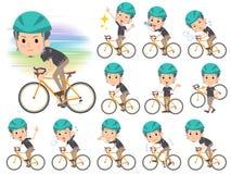 黑短袖衬衣短小胡子man_rode自行车 库存图片
