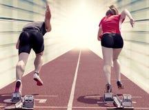 短跑选手夫妇走廊 库存图片