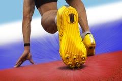 短跑选手起始位置 免版税库存照片
