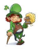 矮人用啤酒。例证为圣徒Patricks天。 免版税图库摄影