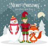矮子、雪人和狐狸 美好的看板卡圣诞节 皇族释放例证