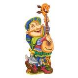 矮子播放祝贺的歌曲吉他 免版税库存图片