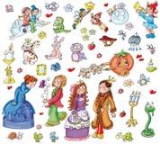 矮子神仙的女王国王儿童胶粘剂, 库存照片