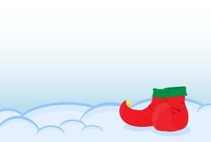 矮子站立在雪的一双鞋 贺卡快活的Ch 库存照片