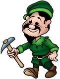 矮小的矮子绿色矿工 库存照片