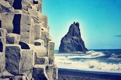 石专栏在冰岛 库存照片