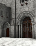 石中世纪城堡庭院例证 免版税图库摄影