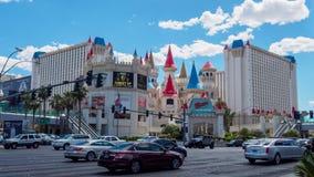 石中剑酒店,以在拉斯维加斯小条的许多旅馆之一儿童的吸引力为特色 免版税库存图片