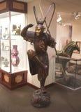 石中国战士雕象在博物馆 免版税图库摄影
