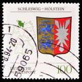 石勒苏益格-荷尔斯泰因徽章,徽章联邦联邦州serie的,大约1994年 图库摄影