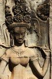 石古老Apsara板刻 免版税库存图片