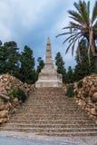 石台阶和方尖碑在Montjuic公墓,巴塞罗那,西班牙 库存图片