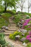 石台阶在花包围的公园 库存照片