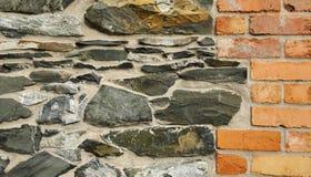 石和红砖墙壁 库存图片