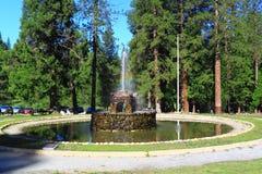 石喷泉在森林里 免版税库存照片