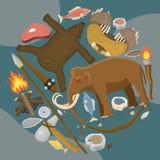 石器时期原始史前生活回合样式传染媒介例证 古老工具和动物 寻找武器和 向量例证