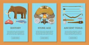 石器时期原始史前生活套卡片,横幅导航例证 古老工具和动物 ?? 皇族释放例证