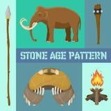 石器时期原始史前生活横幅传染媒介例证 古老工具和动物作为庞然大物 寻找武器 库存例证