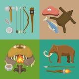 石器时期原始史前生活横幅传染媒介例证 古老工具和动物 寻找武器和 皇族释放例证