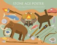 石器时期原始史前生活海报传染媒介例证 古老工具和动物 寻找武器和 库存例证